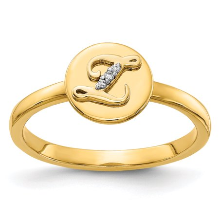 14K Yellow Gold Diamond Initial Z Ring (0.009Cttw)