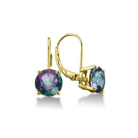 2.00 CTTW Genuine Mystic Topaz Leverback Earrings in 18k Gold ()