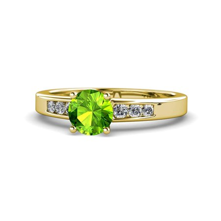 Peridot and Diamond (SI2-I1, G-H) Engagement Ring 1.31 Carat tw in 14K Yellow Gold.size 8.5 ()