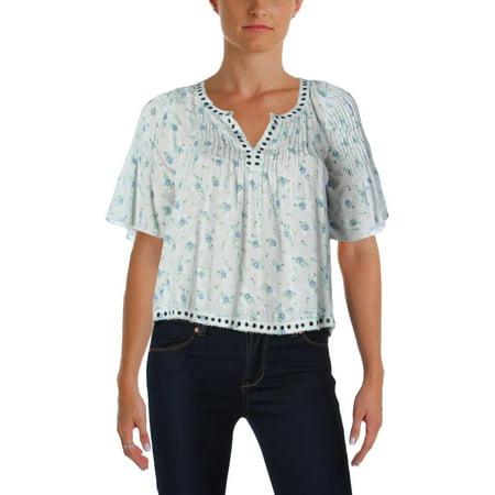 Denim & Supply Ralph Lauren Womens Floral Print Pleated Casual Top