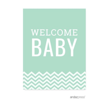 Mint Green Chevron Print Baby Shower Party Signs & Banner Decorations, 20-Pack