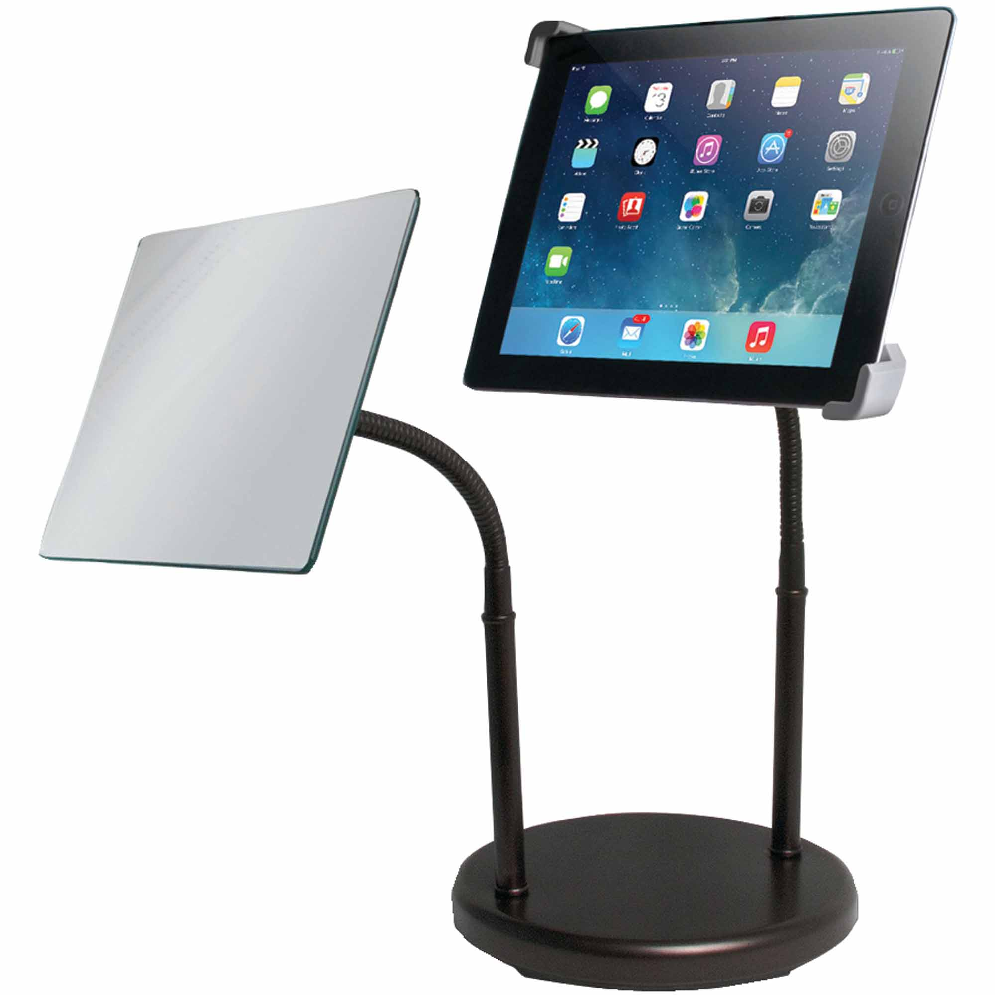 CTA Pad-gtsm Gooseneck Tabletop Stand with Makeup Mirror for Apple iPad and Tablets