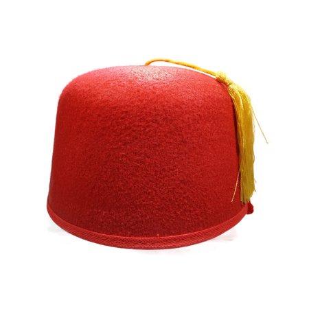 Red Fez Hat Gold Tassel Shriner Turkish Casablanca Moroccan Cap Adult Costume