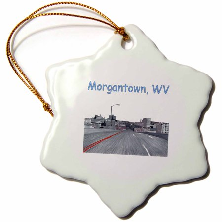 3dRose Colored Pencil Drawing of the City Skyline of Morgantown WV - Snowflake Ornament,