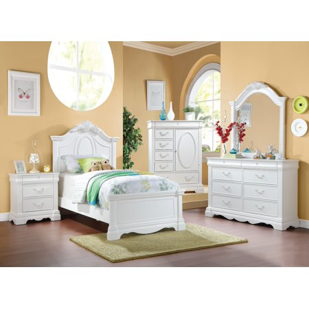 ACME Estrella Twin Panel Bed with Drawer in White Pine wood, Multiple Sizes
