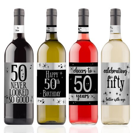 Silver Foil 50th Birthday Wine Labels 4ct - Black and Silver Birthday Party Supplies - 4 Wine Bottle Stickers with Gift Tags - Wine Bottle Covers Halloween