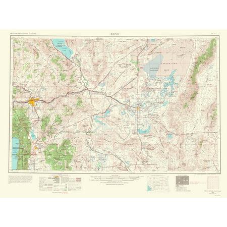 Topographical Map Print - Reno Nevada, California - USGS 1967 - 23 x 30.90