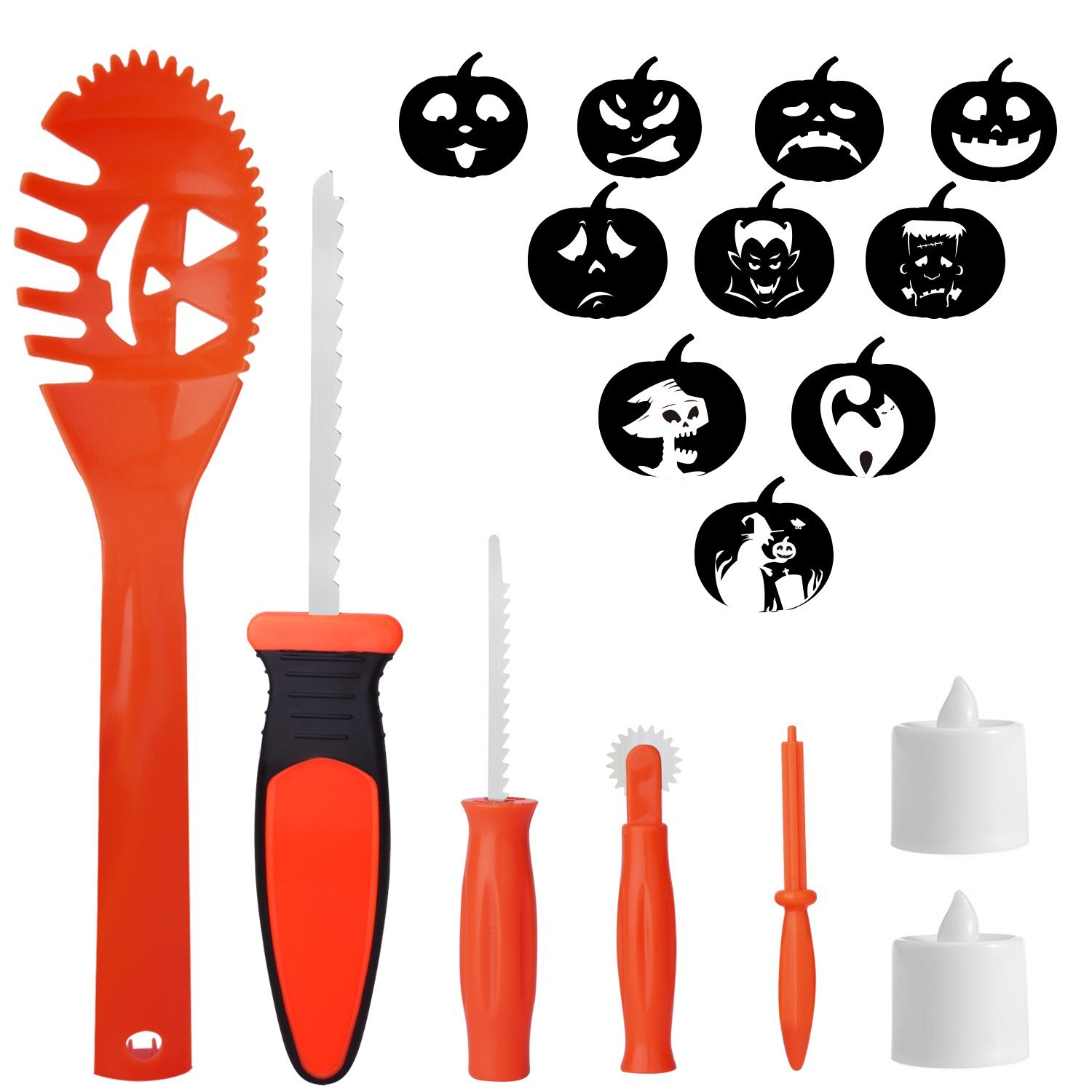 Pumpkin Carving Kit for Kids 5 Easy Halloween Pumpkin Carving Tools Set 2 LED Candles & 10 Carving Templates