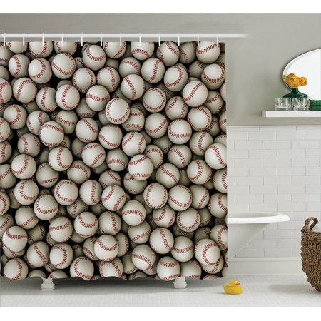 Sports Decor Shower Curtain Set Baseballs Sport Emblem Major League Competition Softball Field Artwork
