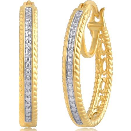 Estate Gold Tone Earrings (Diamond Accent 14kt Gold Tone Hoop Earrings )