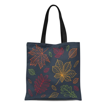 SIDONKU Canvas Tote Bag Fall of the Leaves Autumn Draw Outline Crayons Durable Reusable Shopping Shoulder Grocery - Draw Leaf
