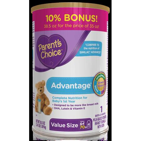 Parents Choice Advantage Infant Formula With Iron  35 Oz