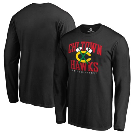 - Chicago Blackhawks Fanatics Branded Big & Tall Hometown Collection Chi Town Hawks Long Sleeve T-Shirt - Black