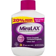 powder laxative, 68 doses. 2x20.4 OZ, Relieves occasional constipation by attracting water in the colon to ease, hydrate and soften stool to increase the.., By Miralax,USA