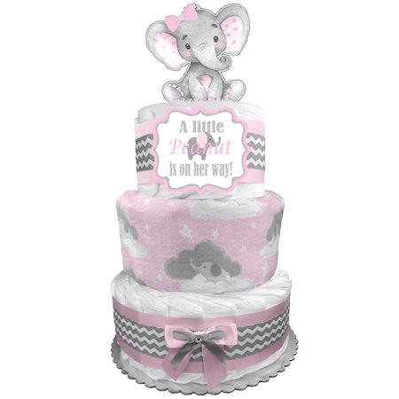 Elephant 3-Tier Diaper Cake - Baby Shower Gift - Centerpiece - Newborn Gift for a Girl - Pink and Gray Diaper Cake Shower