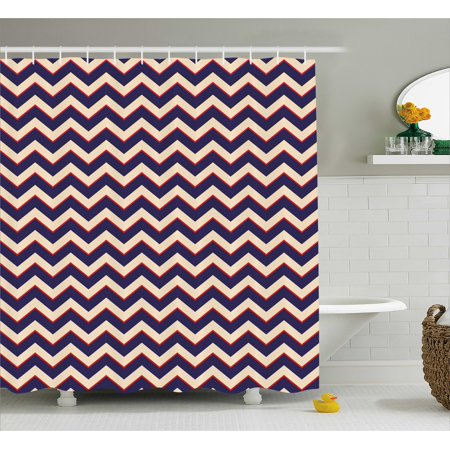 Navy Shower Curtain Zigzag Striped Design In Modern Colors With Art Fashion Chevron Lines Pattern