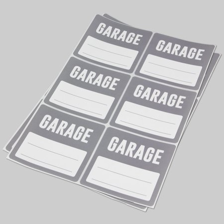 garage stickers 3 x 3 inch 6 labels per sheet 100 sheets grey