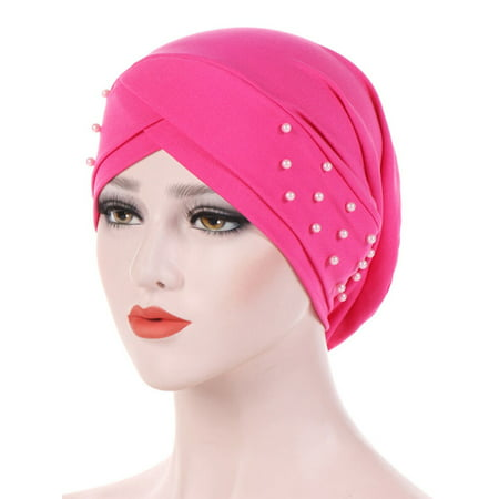 Women Indian Stretchable Beading Turban Hat Head Wrap Hijab Cap Cancer Chemo Hat ()