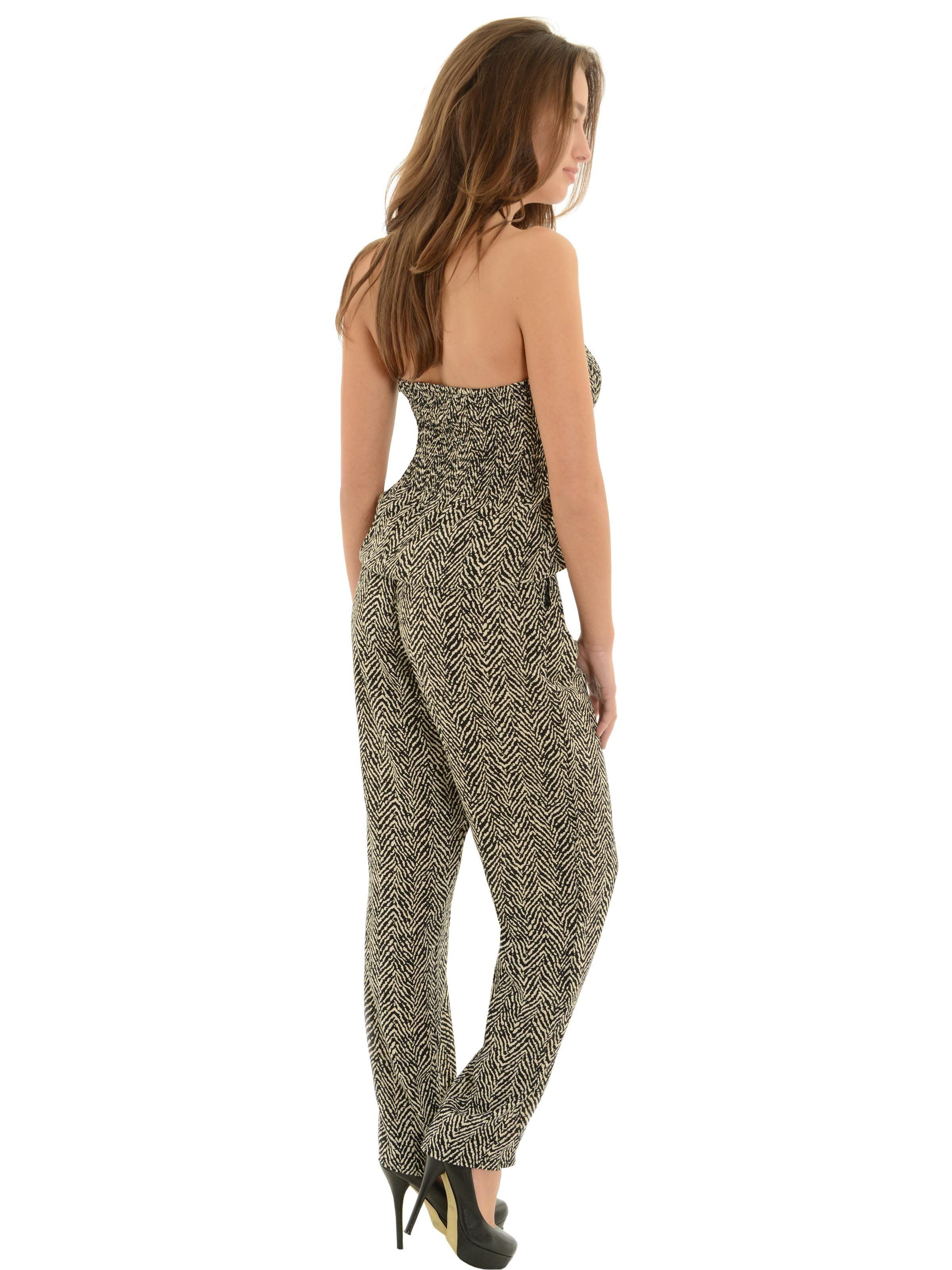 b12a0ad8f9e0 India B - Womens Long Pants Romper with Pockets Strapless Jumpsuit Black  Cream Chevron - Walmart.com