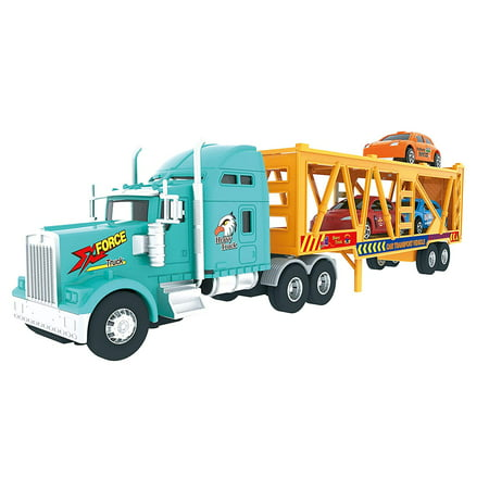 Big Daddy Big Rig Heavy Duty Tractor Trailer Transport Car Transport Toy Truck with 3 Cars Big Rig Truck Games