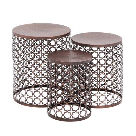DecMode Small Copper Brown Hammered Metal Round End Tables | Set of 3 (Brown Round End Table)