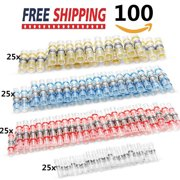 100pcs Solder Seal Heat Shrink Butt Wire Cable Connector Waterproof Terminal Kit