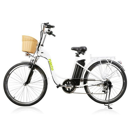 NAKTO City Electric Bicycle 250W 36V 10A for Women 26 inch CAMEL White ()