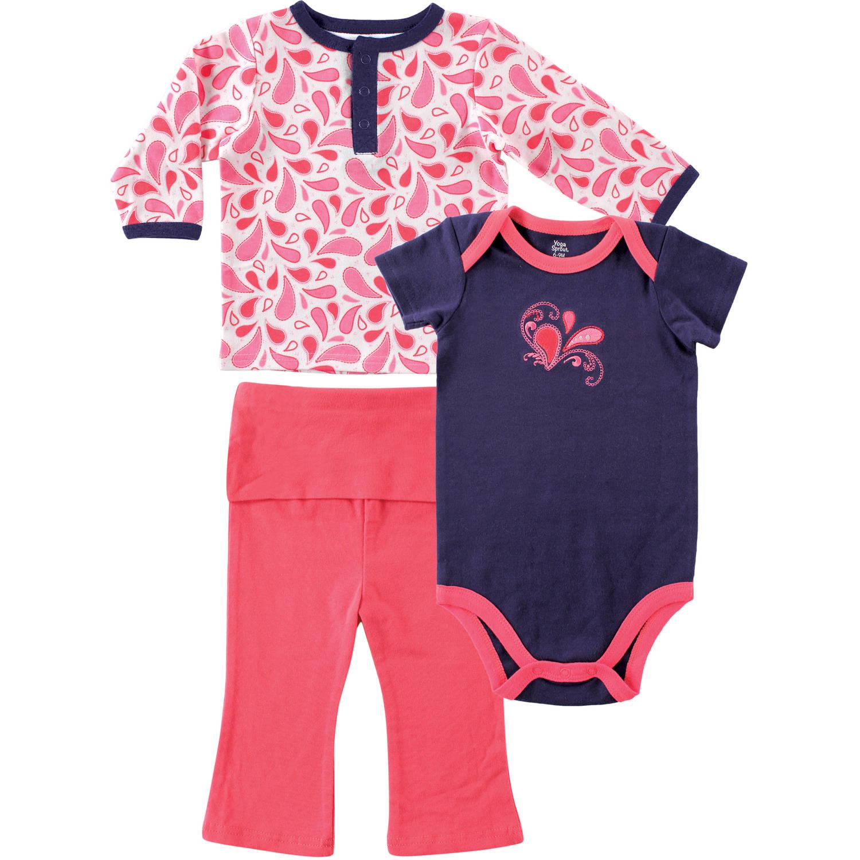 Yoga Sprout Newborn Baby Girls Paisley Long Sleeve Tee Top, Bodysuit & Pants Set