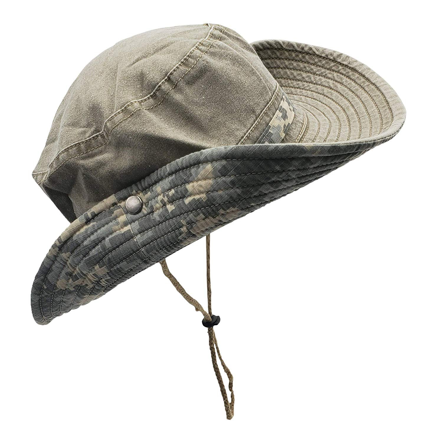 Camping Operator Floppy Military Sun Cap for Men or Women Outdoor Summer Bucket Hat for Hiking Fishing