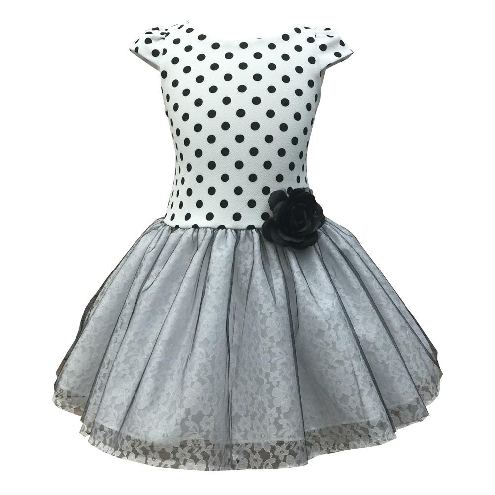 Big Girls White Black Polka Dot Lace Tulle Tutu Dress