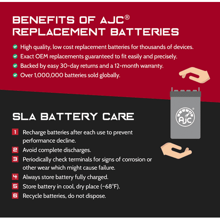 Lightalarms UXE8A 6V 4.5Ah Alarm Battery - This is an AJC Brand Replacement - image 2 of 5