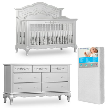 Evolur Aurora 5-in-1 Convertible Crib and Double Dresser in Akoya Grey Pearl with FREE 260 Coil Crib/Toddler (Aurora Mattress)