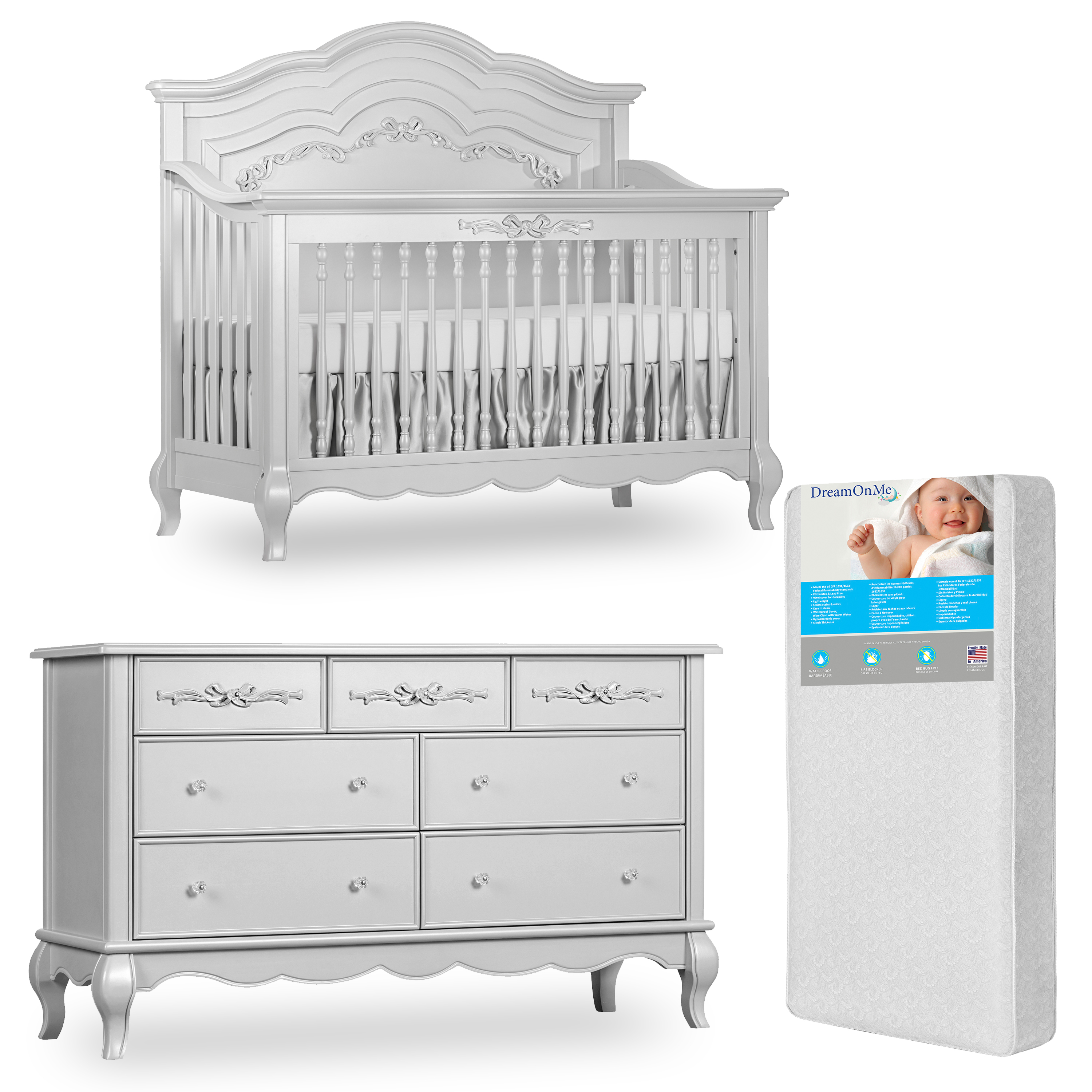 Evolur Aurora 5-in-1 Convertible Crib and Double Dresser in Akoya Grey Pearl with FREE 260 Coil Crib/Toddler Mattress