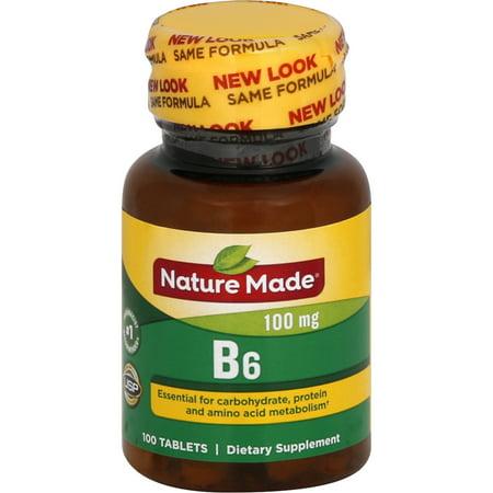 NATURE MADE Vitamin B6, 100 mg, Tablets, 100.0 CT (Vitamin B6 P5p)