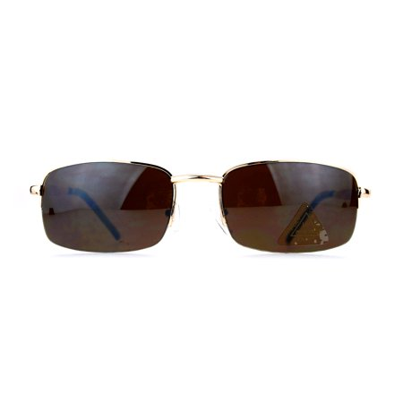 SA106 Mens Half Rim Narrow Rectangular Metal Frame Sunglasses Gold (Narrow Frame Sunglasses)