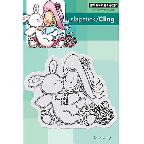 "Penny Black Cling Rubber Stamp, 4"" x 6"" Sheet, Bunny Kisses"