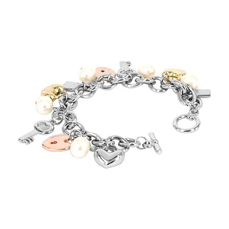 ROSE ATOLL COLLECTION White Baroque Pearl Gold-Tone Charm Bracelet (Pearl Rose Gold Bracelet)