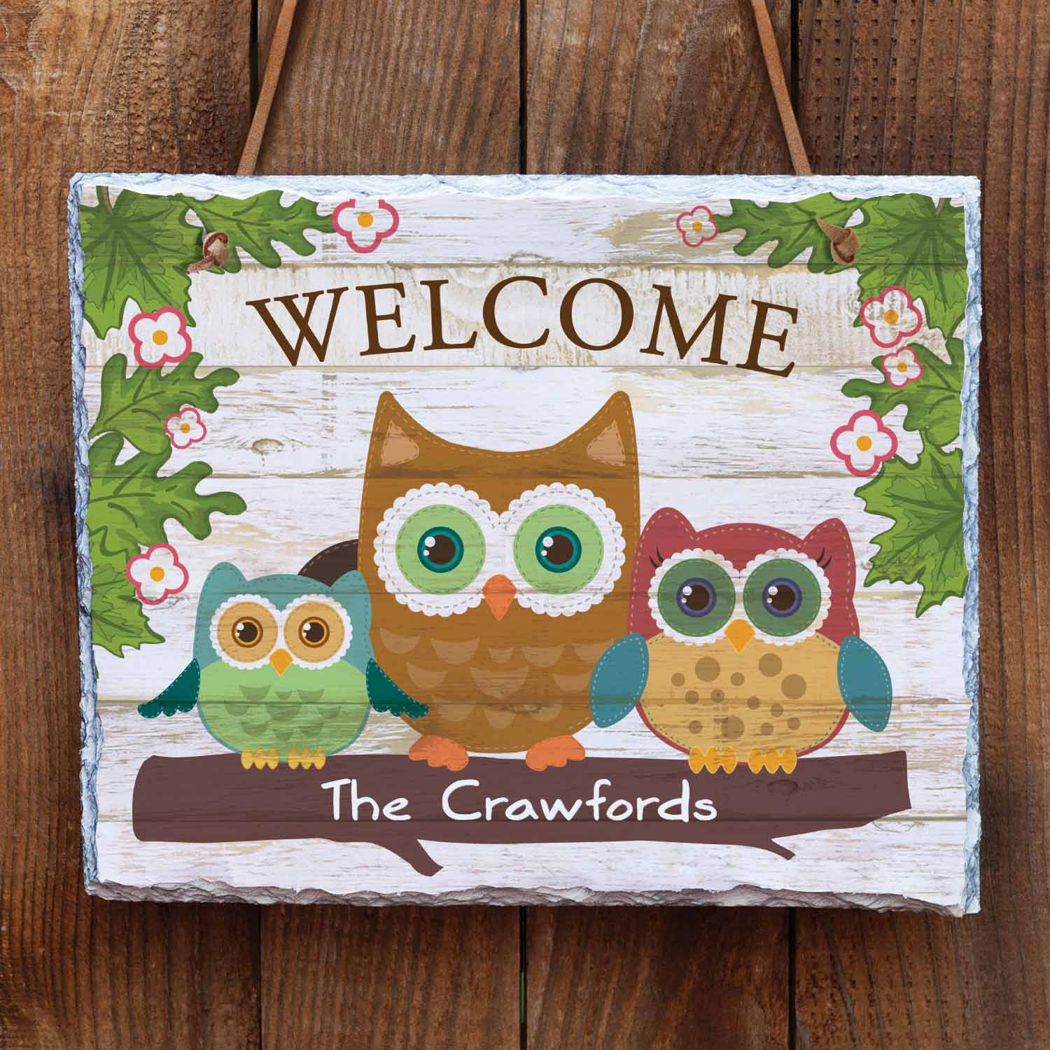 Personalized Welcome Owls Slate, Three