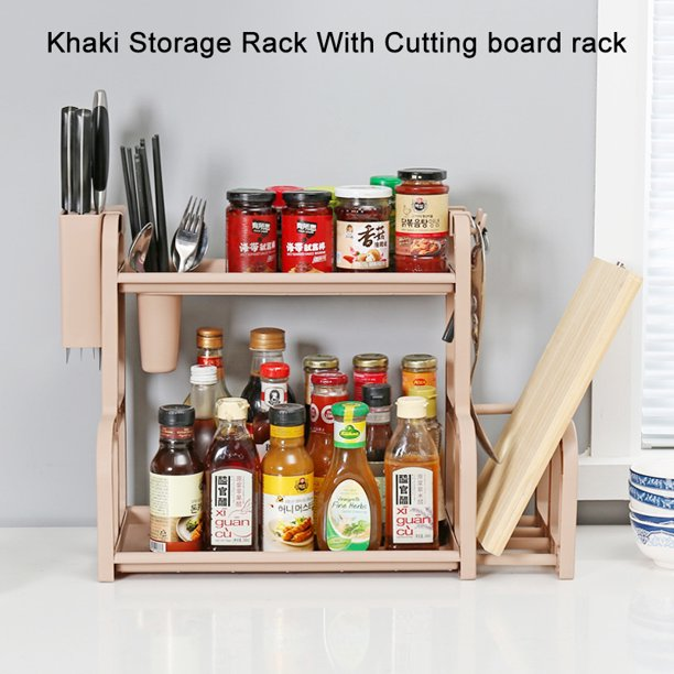 Double Layer Rack Kitchen Spice Rack Holder Cabinet Pantry Storage Organizer Shelf Chopsticks Knife Hook Holder With Cutting Board Rack Walmart Com Walmart Com