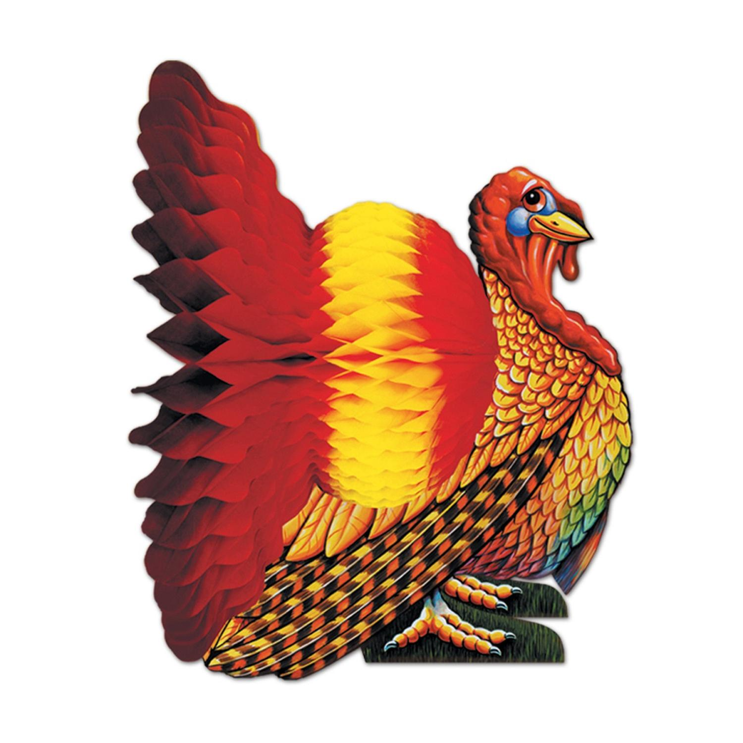 Club Pack of 12 Colorful Thanksgiving Turkey Tissue Centerpieces 9""