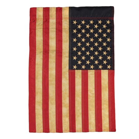"Image of ""12x18 Embroidered USA American Tea Stain 210D Nylon Sleeved Garden Flag 12""""x18"""""""