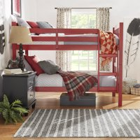 Chelsea Lane Elise Convertible Twin Over Twin Wood Bunk Bed, Multiple Colors
