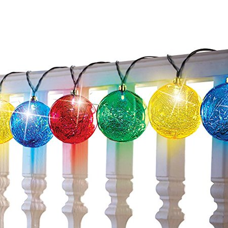Solar Tinsel Ball Ornament String Lights, Multicolor - Walmart.com