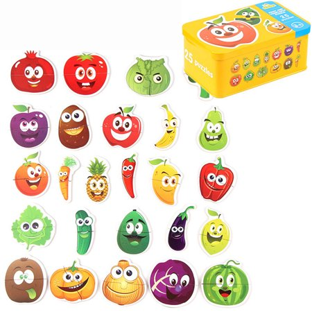 Kids Wooden Peg Puzzles Play Set, Animals, Fruit, Vegetables, Traffic, Learning Montessori Toy Gift for 1, 2, 3 Year Olds, Toddlers Baby Girls