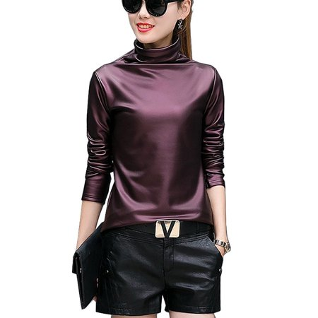 Sexy Women Pu Leather Blouse Turtleneck Long Sleeve Faux leather Wet Look Strechy T-shirt High neck Ladies Tops Plus Size ()