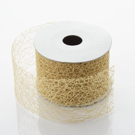Efavormart Decorative Mesh Ribbons - Gold - 2 x 10Yards For Package Wrapping, Hair Bow Clips & Accessories Making Crafting Sewing