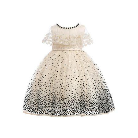 Kids Girls Sleeveless Lace Decorated Fancy Dress