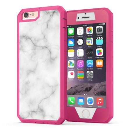 iPhone 6, iPhone 6s Case, True Color White Marble [Stone Texture Collection] Heavy Duty Hybrid + 9H Tempered Glass 360° Protection [True Armor Series] - Pink (Marble Stone Care)
