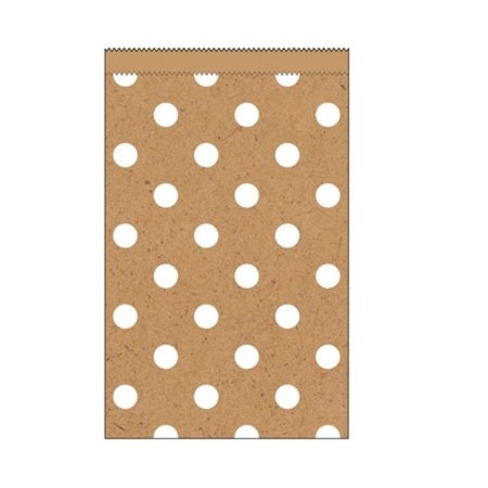 Club Pack of 240 Kraft Natural Brown and White Polka Dots Small Decorative Paper Party Treat Bags 4