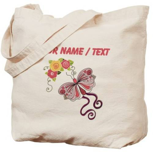Cafepress Personalized Custom Pink Butterfly And Flowers Tote Bag